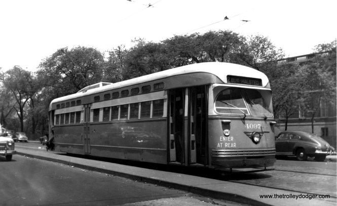 4097 southbound at Clark and North Avenues in the spring of 1947. The building at rear is the Chicago Historical Society, now the Chicago History Museum. (Edward Frank, Jr. Photo)