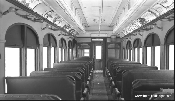 The interior of CA&E car 300, as it appeared on February 25, 1962, shortly before this car was scrapped.