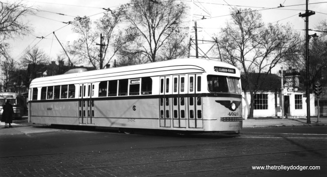 CSL 4020 leaves the Madison-Austin loop for a trip eastbound on November 7, 1945. (Joe L. Diaz Photo)