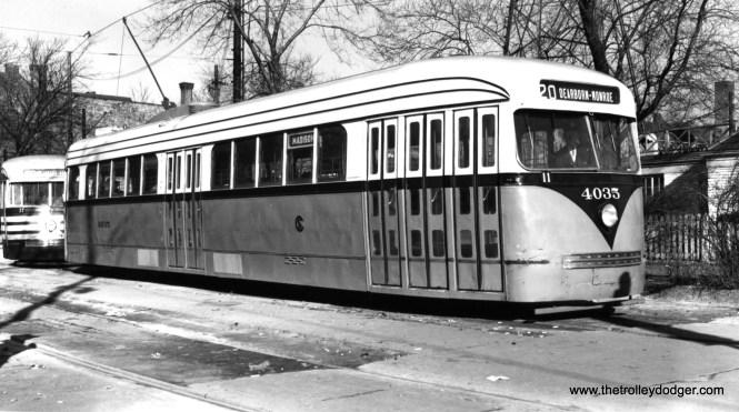CSL 4035 at the Madison-Austin loop on November 7, 1945. (Joe L. Diaz Photo)