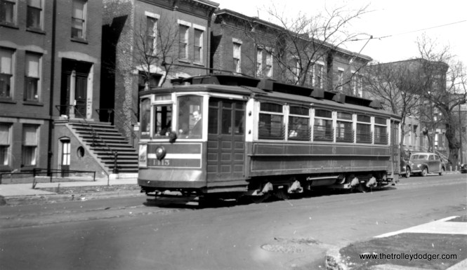 """CSL 1415 near rowhouses, on the Webster-Racine line. Can that be a vaulted sidewalk? Perhaps that might be a clue as to the location. (Joe L. Diaz Photo) Rob L. Segal says this location, """"is on Webster just west of Lincoln Avenue. Many of the rowhouses in the background are still there on the north side of Webster (652 W. Webster, for example) across from Oz Park."""""""