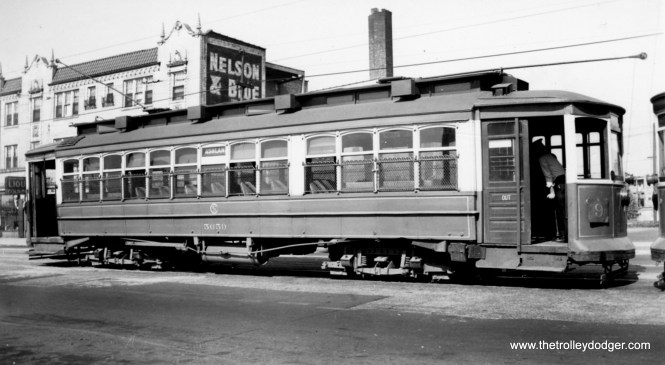 """CSL 5659 at 95th, the south end of the #9 Ashland through-route. We previously posted some photos of this same location here: http://thetrolleydodger.com/2015/03/20/chicago-streetcars-in-color-part-3/ George Foelschow: """"According to Lind, this was a Crete single-end suburban car acquired from Chicago & Southern Traction Company. I would guess that the wide space denotes a smoking compartment in its first life."""""""