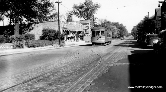 """CSL 3113. M. E. writes: """"As for Beverly Bakery: On 103rd, south side, just west of Vincennes was a bus barn, then the Beverly Bank. So it's logical to assume that Beverly stretched east of Vincennes, at least as far as the bakery. However, the Rock Island commuter station at 103rd and Vincennes is called Washington Heights."""" Chuck Amstein: """"103rd and just west of Elizabeth St., looking ENE. The 2 buildings just left of #3113 are still there. They can also be seen in the background in misc832. The track layout agrees with the CSL 1941 track map, conveniently included in """"Chicago's PCC Streetcars: The Rest of the Story""""."""""""