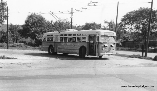 "CTA trolley bus 374 at Montrose and Narrangansett in 1948, ""Another New CTA Bus."" (Railway Negative Exchange Photo)"