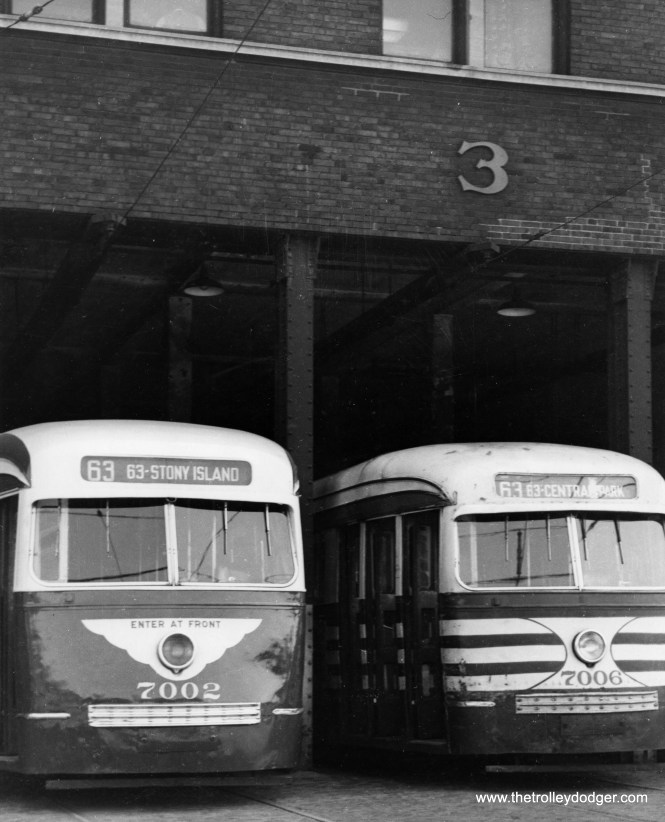 """7002 and 7006 show the first and second generation CSL paint schemes. The """"tiger stripes"""" were added in 1945 to warn motorists that these streetcars were wider than the older red ones."""