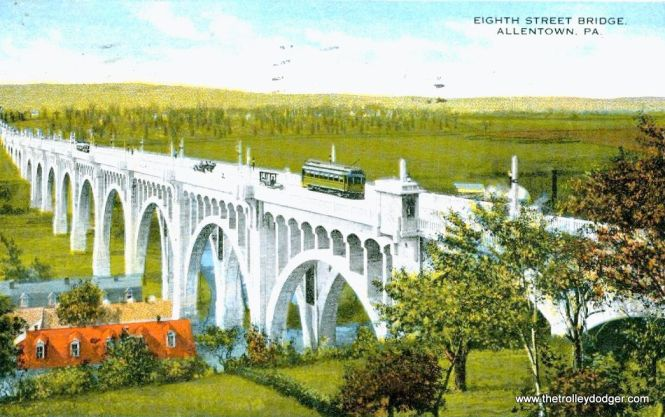 LVT built the Eighth Street Bridge in Allentown, which charged tolls. This vintage postcard was mailed in 1919.