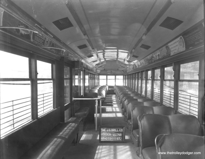 "Presumably another interior photo of 6294. These cars had leather seats. The ""bucket"" seats remind me a bit of those on Indiana Railroad lightweight high-speed interurban car 65, built two years after this car."