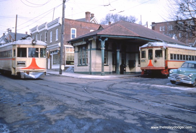 LVT interurbans 1006 and 702 at Perkasie on February 11, 1951. 702 was in fantrip service.
