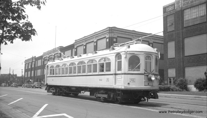 "LVT 812 on Broad Street in Bethlehem on June 30, 1947. The occasion was a fantrip. Many fans considered it a real shame that the 812 was not saved. Other than the 1030, it was the ""jewel of the fleet."" (James Maloney, Jr. Photo)"