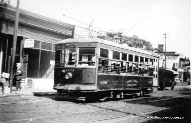 Jamaica Central Railways Birney trolley 409, ex-Eastern Massachusetts 5052, on July 14, 1935. (Trolley Museum of New York Collection)