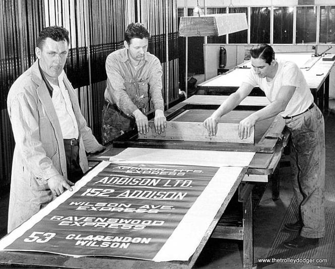 The CTA sign shop at work in the 1950s.