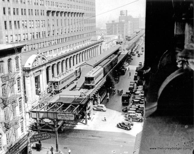 """Our previous post Trolley Dodgers (January 15, 2016) included a photo of the old Market Street stub terminal in downtown Chicago. Here is another view, probably from the late 1930s. It was torn down in 1948 after the CTA introduced A/B """"skip-stop"""" service on the Lake Street """"L"""", which rendered it unnecessary. (Chicago Transit Authority Photo)"""