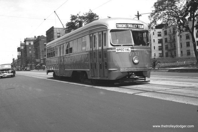 "B&QT 1051 on the ""Triborough Trolley Tour,"" June 6, 1948."