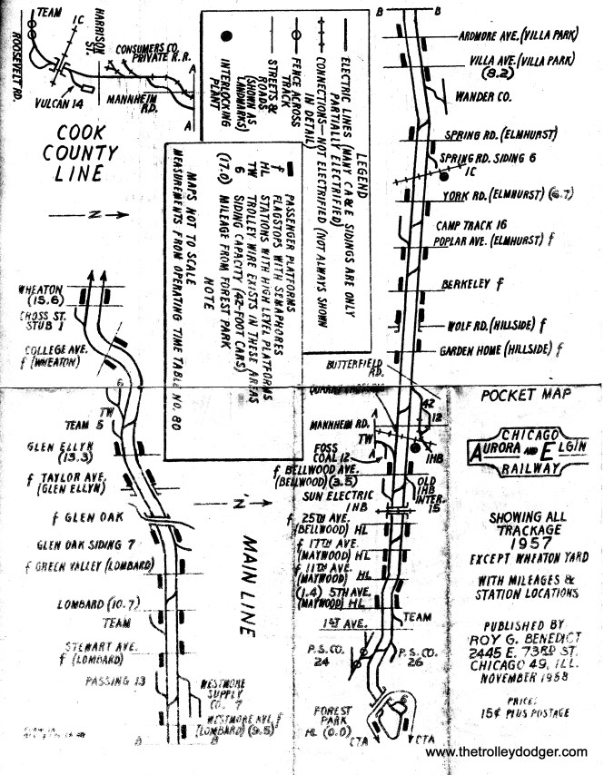 "A CA&E pocket map made by Roy G. Benedict in 1958, when the ""Roarin' Elgin"" had already abandoned passenger service (except for charters) but was still running freight. Roy mimeographed these and sold them to aspiring railfans. He has made many additional maps since, and has had a successful career in the publishing industry. The Forest Park loop shown at the bottom of this page is where the next picture in this post was taken."