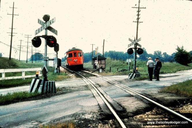 CA&E 459 at Raymond Street in Elgin, June 9, 1957. (Mark Llanuza Collection)