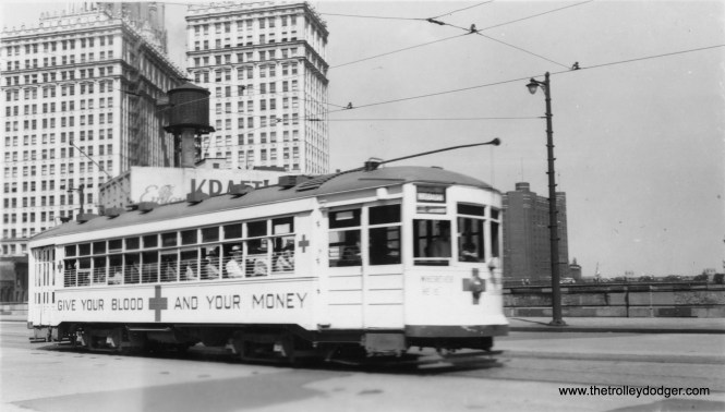 CSL Red Cross tribute car near the Wrigley Building in June 1944. This car was in the 1700-series. (Gordon Lloyd Photo)