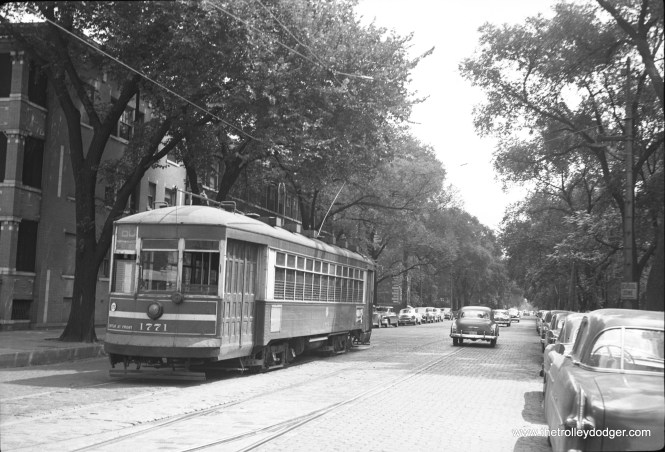 """CTA 1771 says it is on route 60 - Blue Island in this early 1950s photo. But, as Andre Kristopans notes, """"Look carefully – this is on Lake near Austin! Destination sign reads """"Lake-Austin"""", route # sign is set wrong!"""" (Walter Hulseweder Photo)"""