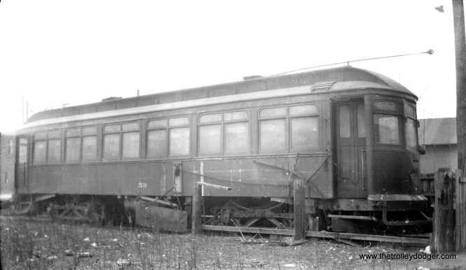 Chicago and Calumet District Transit Company car 59, built by St. Louis Car Company in 1901. Joint service to Hammond, Whiting, and East Chicago, Indiana was operated with the Chicago Surface Lines until June 9, 1940.