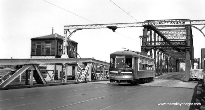 Westbound car 3109 crosses the 18th Street bridge. This CSL Safety Car, also known as a Sewing Machine(?), was built by CSL in 1922. It was scrapped in 1948. (Joe L. Diaz Photo)