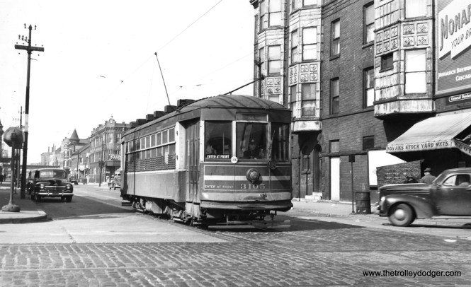 "CTA 3105 at Leavitt and Cermak on April 9, 1948. This is another Safety Car, aka a ""Sewing Machine."""