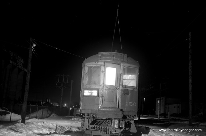 CNS&M 150 in a night scene at Waukegan on January 26, 1962.