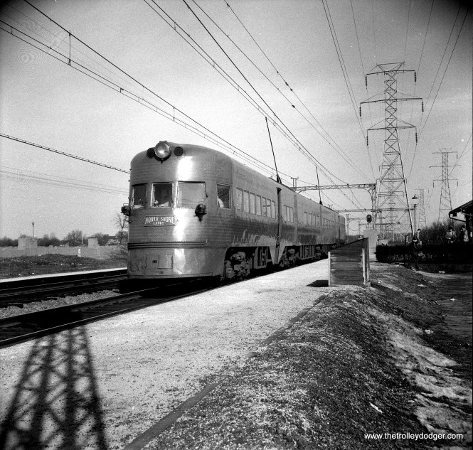 CNS&M Electroliner 803-804 at Deerpath, Illinois, February 17, 1957. Could be the photographer boarded the train in the previous picture at Roosevelt road and got off here.