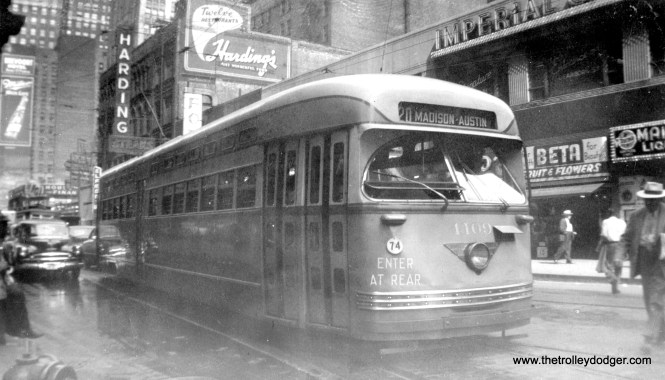 Since CTA 4109 is westbound in this Loop photo, it is most likely on either Dearborn, Washington, Franklin, or Monroe. (Eastbound cars used Madison.)