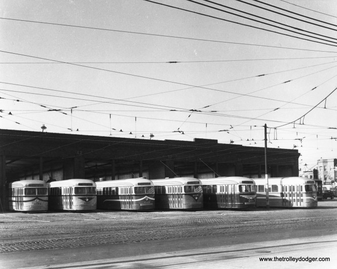 In this November 1945 view at Kedzie Station (car barn), six cars in experimental paint schemes are lined up. From left, we have 4050, 4020, 4022, 4035, 4010, and 4018. To see what the color schemes were, go to page 12 of CERA Bulletin 146. (CSL Photo)
