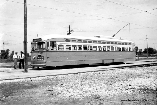 """PCC 4393, """"Another New CTA Streetcar,"""" at the 79th and Western loop in 1948."""