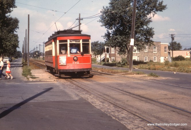 CTA 192 at 63rd Place and Major (5700 W.) in June 1952, after the prewar PCCs had been removed from the 63rd Street route. Some postwar PCCs would also be used on this line before streetcars were abandoned in 1953. Major was the end of the private right-of-way on the west end of this route.