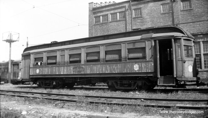 "CO&P car 57, the ""Western Special,"" at the Ottawa Shops in 1934."