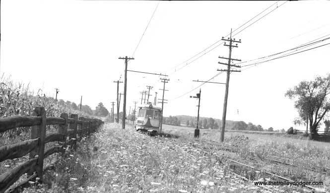 LVT 1030 at Acorn Siding on August 19, 1951, less than a month before the Liberty Bell Limited interurban was abandoned.