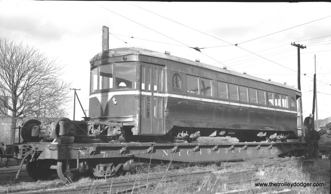 "Don's Rail Photos says, ""1102 was built by Cincinnati Car in August 1929, #3025, as D&TRy 203. It was returned to Cincinnati Car in 1932, and in 1938 it was sold to LVT as 1102. In 1949 it was sold to Speedrail, but was not rehabilitated until March 1951. But it only ran for 3 months as 66 before the line was abandoned and then scrapped in 1952."" Here, LVT 1102 is shown on a flatcar at Riverside in late 1949 for its trip to Speedrail. This was a Cincinnati curved-side car, and had been used on LVT's ""other"" interurban, the Easton Limited, where these cars proved to be underpowered for the hilly terrain and had difficulty maintaining schedules kept by the cars they replaced."