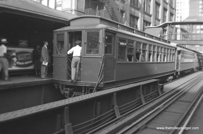 "CTA Met car 2888 heads up a Garfield Park train on the Loop ""L"" circa 1950."