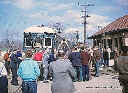 The final passenger train on the Illinois Terminal Railroad makes a station stop in Girard, March 2, 1956. (Dale Jenkins Collection)