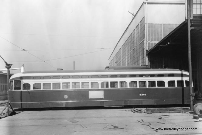 """A St. Louis Car Company photo of CTA 4381. But you can't exactly call this a """"builder's photo,"""" since this car was sent to St. Louis in October 1952 to see if it would be feasible to convert streetcars into """"L"""" cars. As it turned out, there were too many differences, in floor height for example. Thus it was decided to simply scrap the cars and reuse as many of the parts as possible, or, in some cases, resell them, as SLCC did with some of the backup controllers, which went to St. Louis Public Service."""