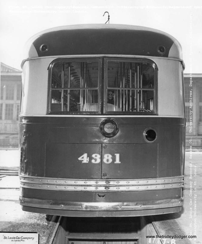 Another shot of CTA 4381 at the St. Louis Car Company plant. This car was not officially retired by CTA until April 15, 1953. Another car was sent to Pullman for similar experiments.