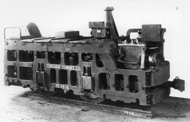 "A 1913 Baldwin builder's photo of locomotive 534, which had 28"" wheels, two 25 hp motors, and weighed 14,000 lbs."