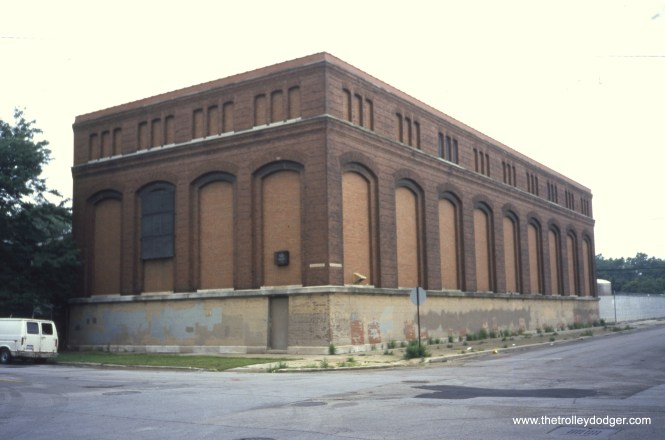 """A CTA substation located on the southwest corner of 42nd and Wabash, as it appeared on July 30, 2004. Constructed under authority of the Board of Supervising Engineers, Chicago Traction, it originally fed power to the streetcars. It now services the """"L"""". View looks southwest. (William Shapotkin Photo)"""