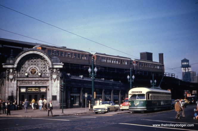 """CTA PCC 7174 heads south on route 36 at Broadway amd Wilson, with a three-car train of wooden """"L"""" cars up above, probably in Evanston Express service. This historic Uptown """"L"""" station also served the North Shore Line."""