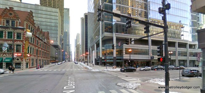 Dearborn and Kinzie today. We are looking south.