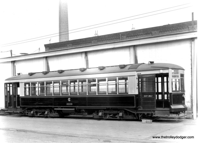 "A Brill builder's photo of CSL 3119. Don's Rail Photos says, ""3119 was built by Brill Car Co in December 1922, #21686. It was rebuilt as one-man in 1949."" This was part of a series known as the 169 or Broadway-State cars. (Historical Society of Pennsylvania Photo)"