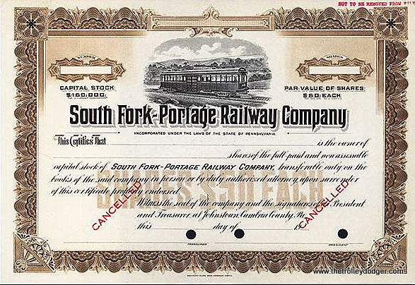 South Fork-Portage Railway stock, issued in 1912.