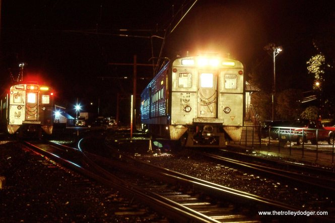 A NJT Gladstone branch train is about to depart and make a night time run to Summit, NJ. 10/12/04