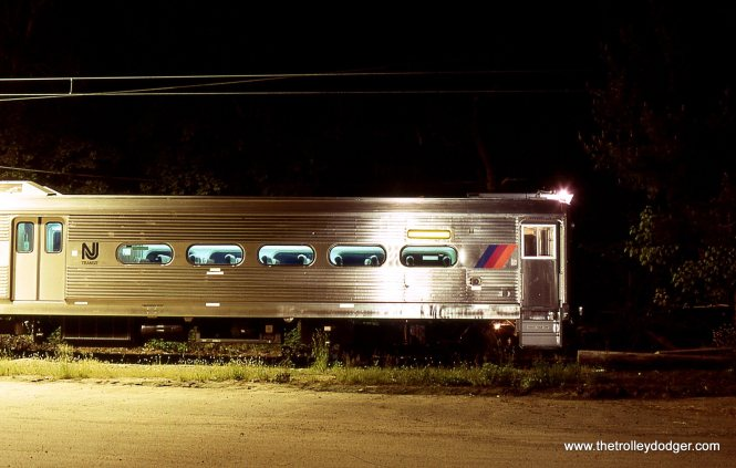 A NJT train of Arrow MUs about to depart the Gladstone station 5/15/98