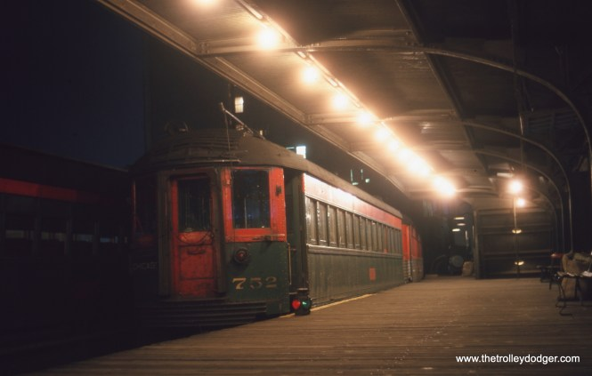 "From 1949 until 1963, the North Shore Line had the CTA's Roosevelt Road station all to itself, as this July 1962 picture of car 752 shows. Don's Rail Photos: ""752 was built by Standard Steel Car in 1930. It was modernized in 1940."""