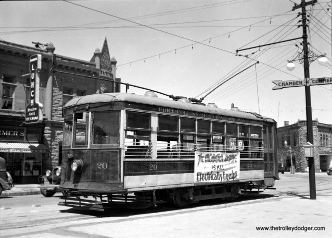 "Fort Collins Municipal Railway Birney car 20 in Colorado. There were three lines, and all three cars met in the town center once an hour so riders could transfer. Service ended in 1951, but a portion of one line was restored to service in the 1980s. Don's Rail Photos says, ""20 was built by American Car Co. in April 1919, #1184. It was sold in 1951 and moved to the Stuhr Museum of the Prairie Pioneer in Minden, NE. and has been on static display there ever since."" (Joseph P. Saitta Photo)"