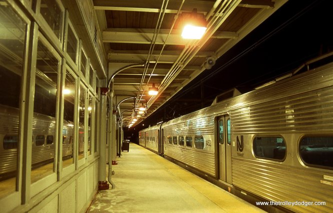 A train of NJT Arrow MU cars at the TRENTON NJ station 2/9/02