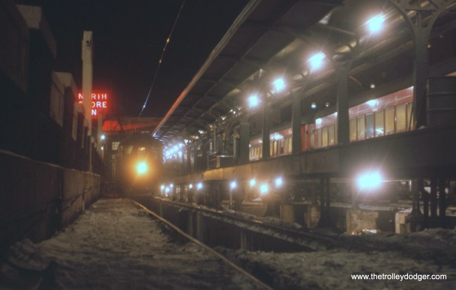 The North Shore Line terminal in Milwaukee in January 1963.