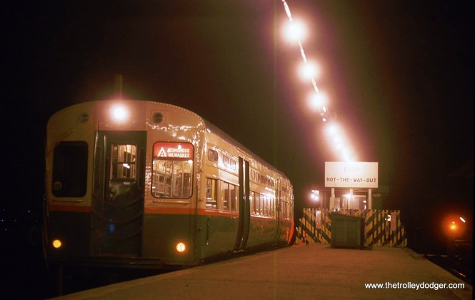 "Originally, I thought this early 1960s night shot showed a CTA single-car unit in the 1-50 series, and those cars were used on the Congress-Douglas-Milwaukee line. But as Andre Kristopans has pointed out, the doors on those cars were closer to the ends than this one, which he identifies as being part of the 6511-6720 series. It just looks like there's one car, since the other ""married pair"" behind it is not illuminated. This picture was most likely taken at the end of the line at DesPlaines Avenue."